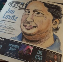Workpiece. Drawing of comedian Jon Lovitz. Interviewed him as well, and laid out the cover.