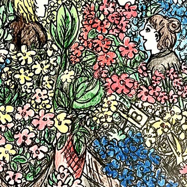 Flower shop, watercolor pencils